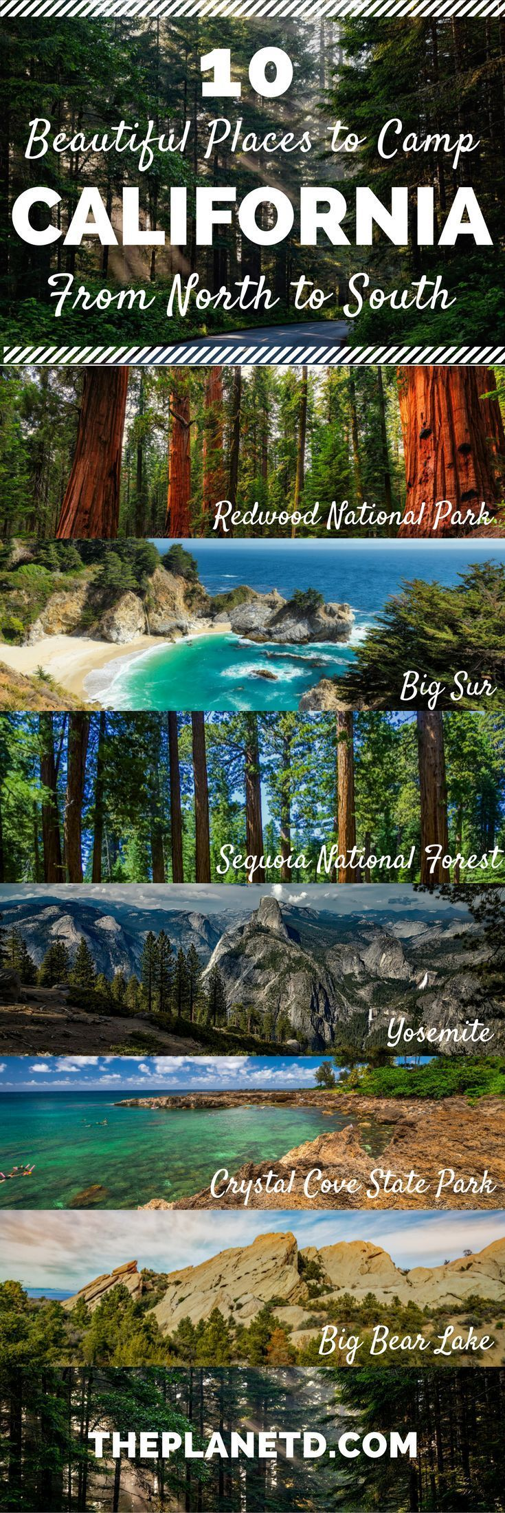 Ten of the most beautiful camping spots in California. From Redwood National Park in the north, to Big Bear Lake in the south, and Big Sur and Yosemite in-between, these camping sites make up the ultimate California road trip itinerary. Travel in the USA.