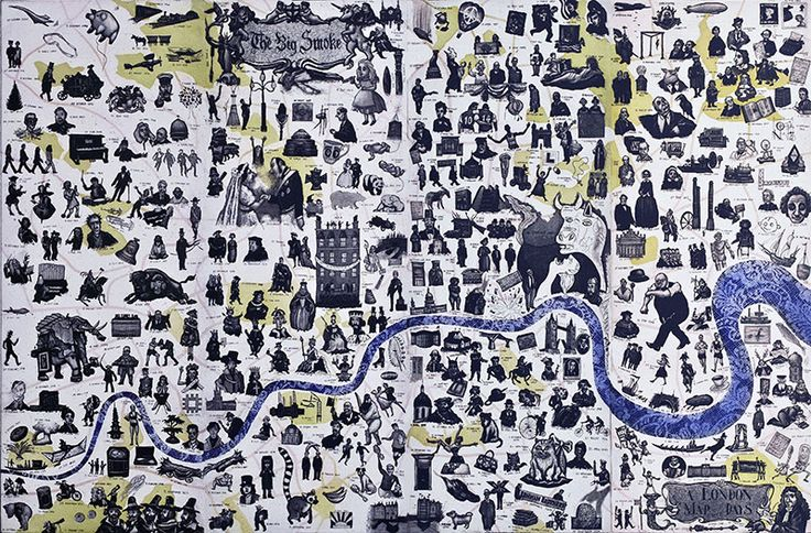 Mychael Barratt, London Map of Days This is an eight-plate etching that is printed in four sections and joined together in the manner of an ancient folding map. It features 366 date specific references to events or people throughout London's history.