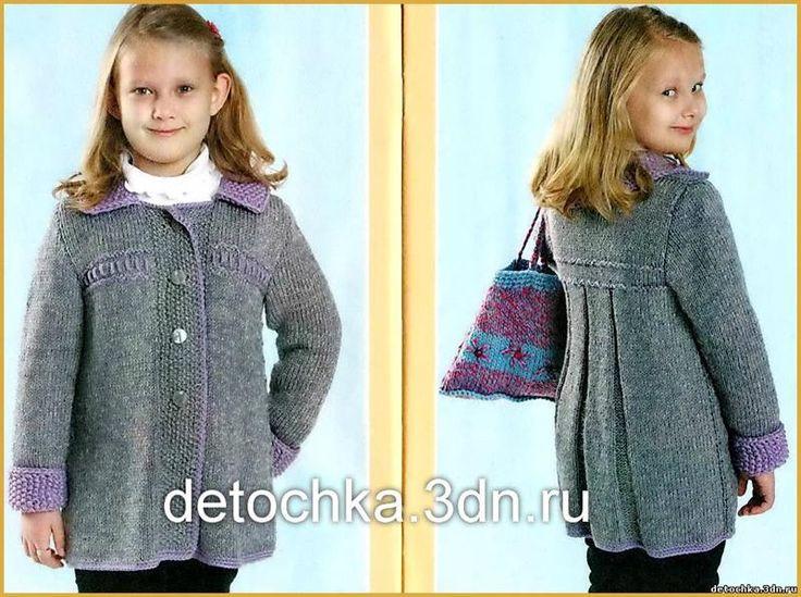 Вязание спицами схемы описание пальто для девочек 8 лет