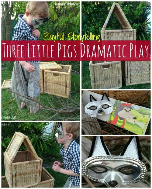 Playful storytelling: Three Little Pigs. Lots of ideas for retelling the traditional Fairy Tale. Such a fun and simple way to bring stories to life for kids.