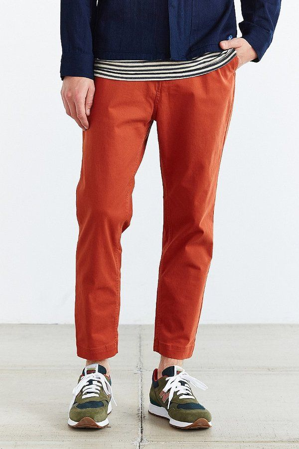 $49, Orange Chinos: Urban Outfitters Cpo Tyson Cropped Tapered Chino Pant. Sold by Urban Outfitters. Click for more info: https://lookastic.com/men/shop_items/234080/redirect