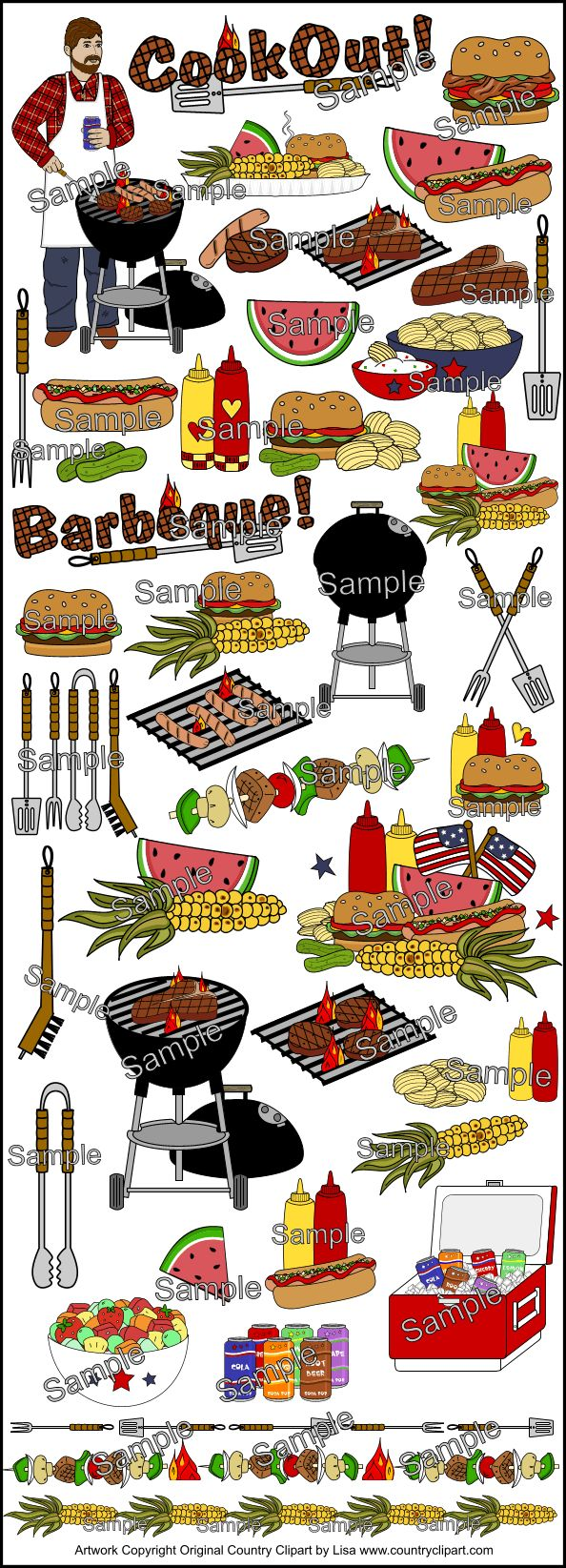 Country Cookout Barbeque Picnic Graphics and Clip Art Collection