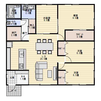 33坪4LDK衣装室のある平屋の間取り | 平屋間取り
