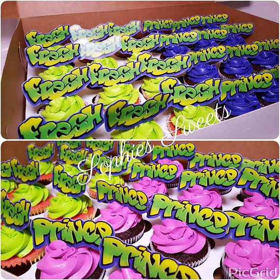 Fresh Prince Cupcake Toppers, Cake Toppers, Fresh Prince Baby Shower, 90s party, Fresh Prince Party, 90s Theme Party cake, I love the 90s, 90s party, 90s party decorations, 90s birthday, 90s cake, Digital File, PDF File Celebrate the 90s with these fun Fresh Prince Cupcake Toppers