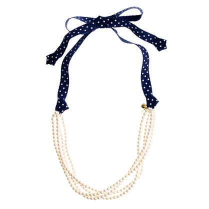 fold necklace in half, tie ribbon to both ends. cute DIY!