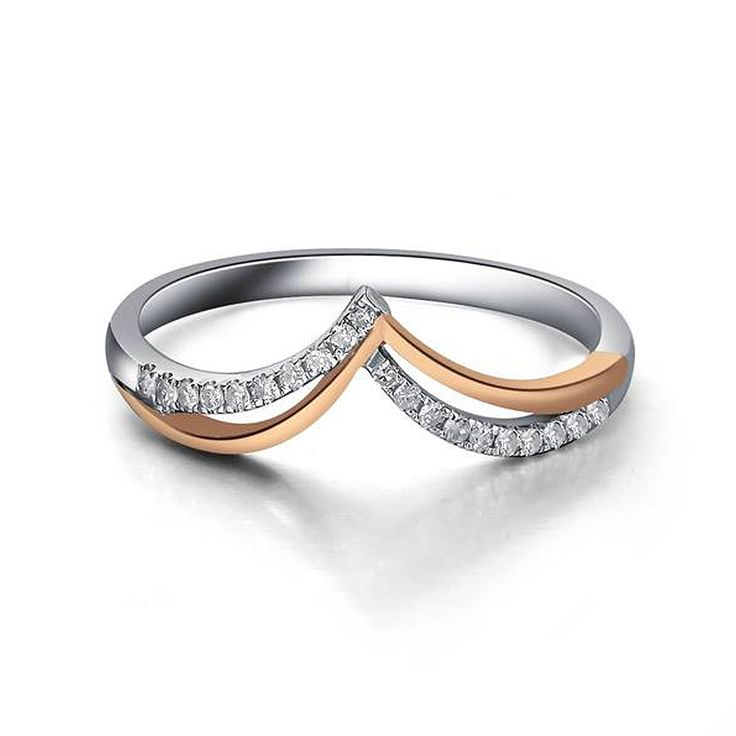 real diamond ring 14k solid white gold rose gold wedding band ring free shipping worldwide http - Real Diamond Wedding Rings