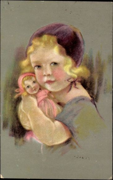 Künstler Ak Junges Mädchen mit einer Puppe in Händen, Blondes Haar   eBay