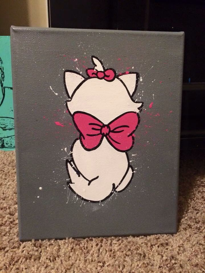 marie the aristocats Disney splatter canvas art
