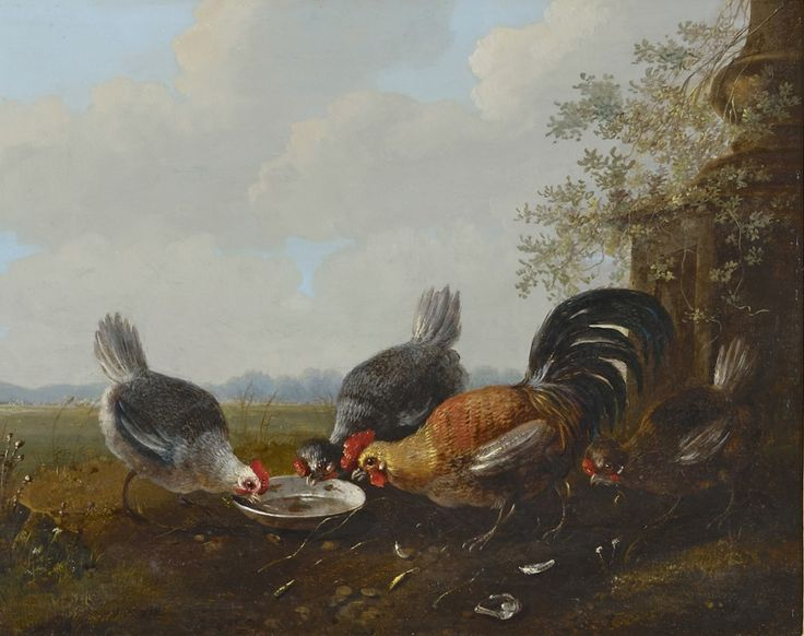 Albertus Verhoesen (1806-1881) Four chickens near a waterbowl, oil on panel. Collection Simonis & Buunk, The Netherlands