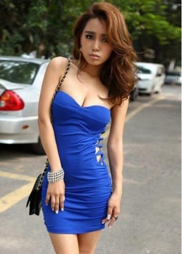 Skinny Sexy Deep Blue Tube Dress for Club