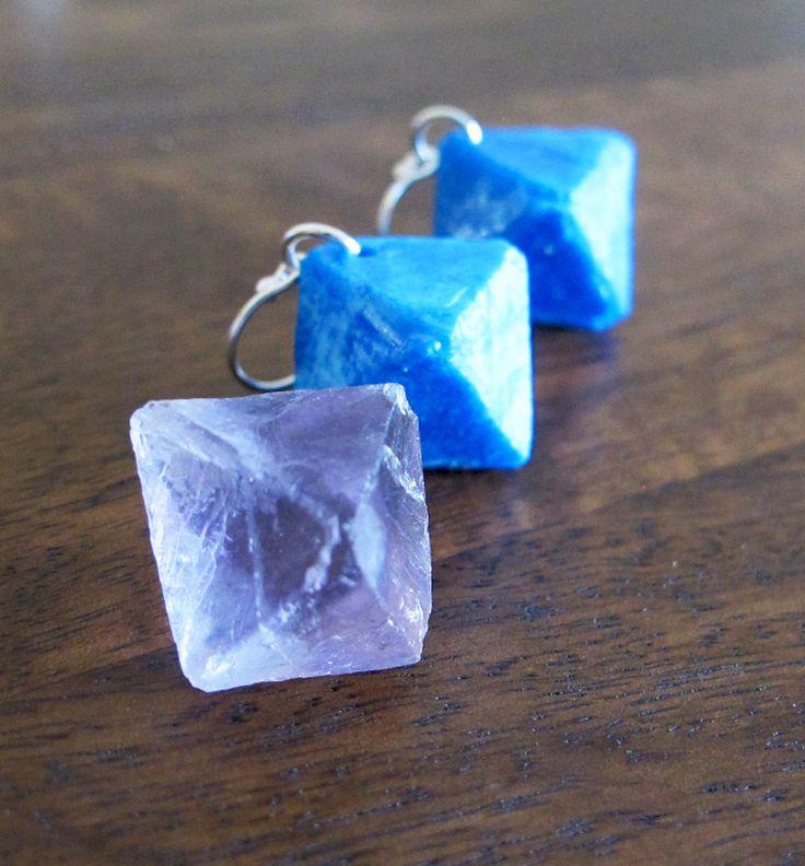 Blue Resin Earrings Handmade - Flourite Octahedron - Jurassic Jewellery by JurassicJewelleryAus on Etsy