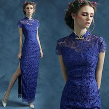S 2015 новое поступление на складе беременным Большой размер свадебное платье вечернее платье высокий воротник винтаж синий шнурок с сексуальная 287(China (Mainland))