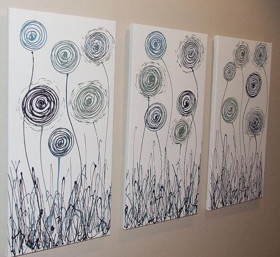 Teal Navy Blue Silver White Abstract Canvas by Artsolutely on Etsy, $239.90