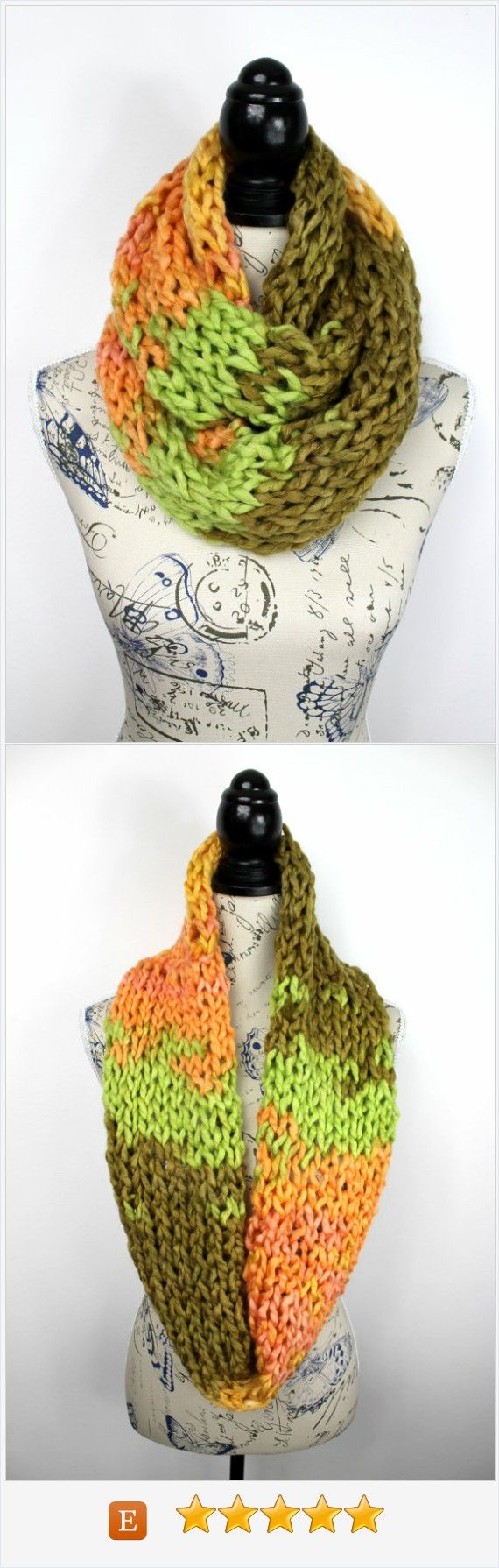 Super Chunky Scarf - Bulky Knit Scarf - Knit Snood Scarf - Eternity Scarf - winter knit Infinity - Knit Eternity Scarf - Multicolor Snood