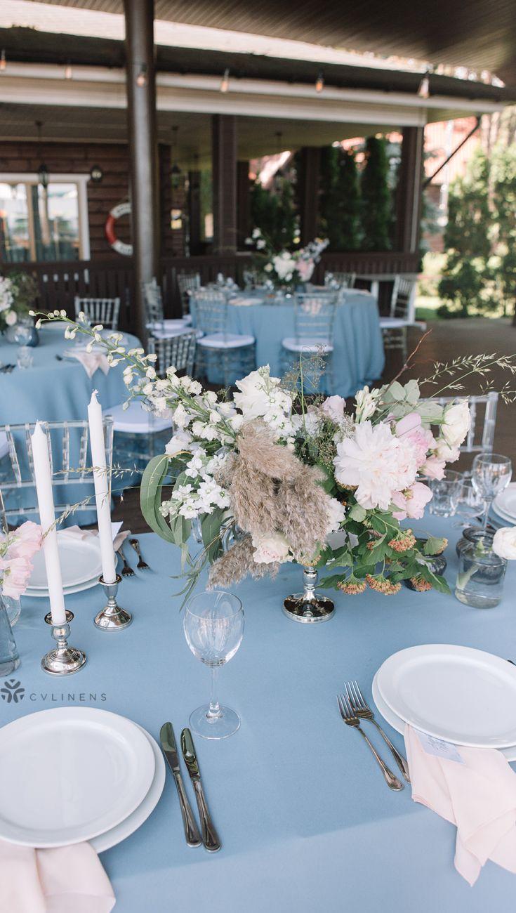 90 X156 Rectangular Oblong Polyester Tablecloth Dusty Blue