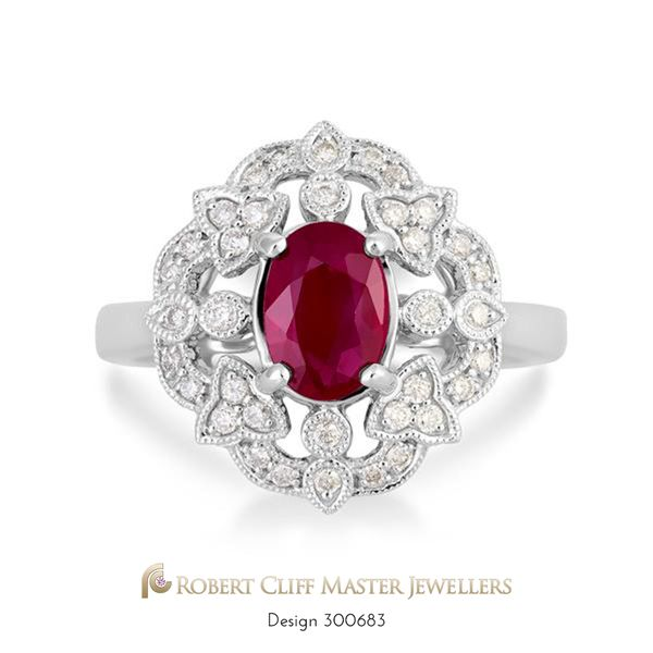 A precious #ruby! Elegant in every way, this stunning 18ct white gold #ring featuring an oval cut ruby surrounded by brilliant cut #diamonds in a filigree design. Yours now, for only $3,350 --- #jewellerysale #somethingnew #specialoffer #specialprice #specialorder #specialdelivery #specials #specialgift #special #Gemstone #Gems #bling #stunningjewellery #design #beauty #style #jewellerydesign #luxurybrand #luxurylife #fashionaccessories #jewelleryaddict #instastyle