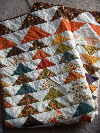 The first quilt class I took was with The Strawberry Patch, Roseville, PA.  We did a flying geese quilt.  What a wonderful, wonderful shop.  Although no longer there, there are still great memories.