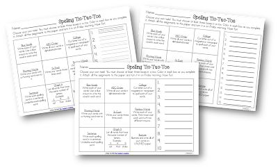 tic tac toe homework template - tic tac toe spelling activities freebie literacy ideas