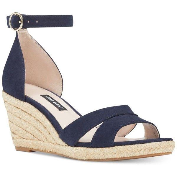 Navy blue wedge sandals