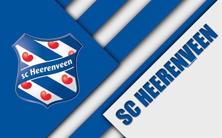 Download wallpapers SC Heerenveen, emblem, blue white abstraction, 4k, material design, Dutch football club, Eredivisie, Heerenveen, Netherlands, football