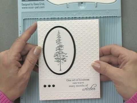how to do partial embossing on a card; nice finishing touch using score lines too