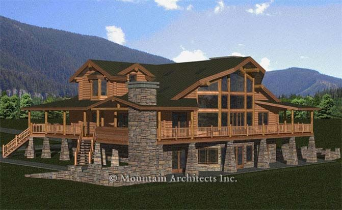 Homes with wrap around porches milled log home added for House plans with wrap around porch and basement