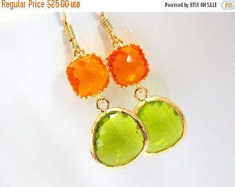 VENTA cristal pendientes, verde manzana pendientes, aretes de oro, aretes de naranja, mandarina, aretes de Dama de honor, pendientes de novia, regalos de Dama de honor