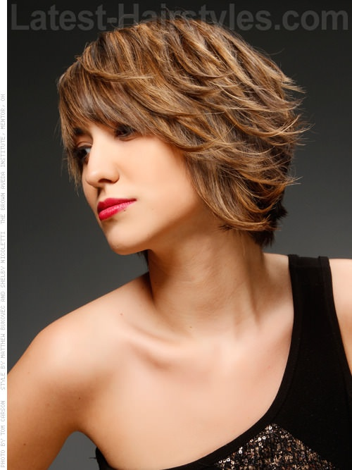 Side Swept Asymmetrical Short Cut Light Brown Side View-- first goal hairstyle in grow out process