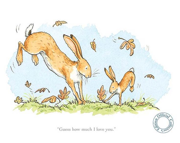 One of Anita Jeram's beautiful illustrations from Guess How Much I Love You by Sam McBratney. A framed print would look stunning in a nursery.