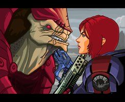 """This didn't happen during my playthrough, thankfully. I had enough Paragon Points (and had done Wrex's Family Armor mission) to charm him out of his rage. It was totally worth it. (read: """"SHEPARD! My friend!"""")"""