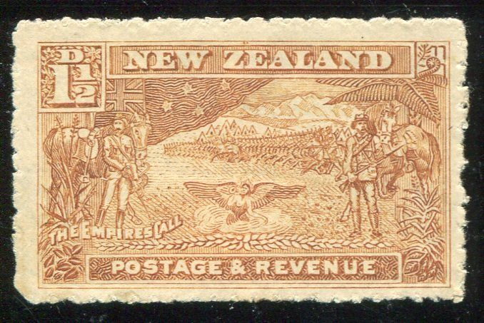 Stamps - Errors #326900 NZ Error 1900 Pict 1 1/2d Boer War in Rare Khaki colour, large stamp, well centred example, hinged top & bottom, distinctive shade ...