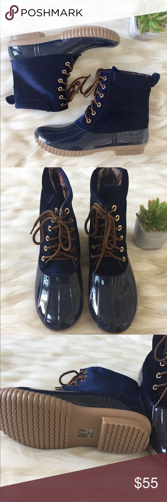 RESTOCKED! Navy duck boots A Fall favorite every year! Navy duck boots with a velvet upper. Stitched synthetic rubber sole for durability, matching stitching throughout, soft lining for comfort, heavy duty laces. Runs a little small so recommended to size up. Shoes Ankle Boots & Booties