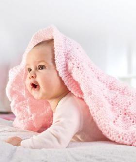 Детский плед с ажурными ромбами