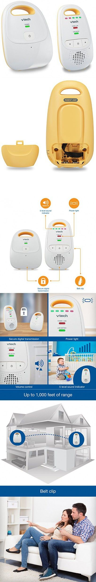 VTech DM111 Safe & Sound Digital Audio Baby Monitor With One Parent Unit