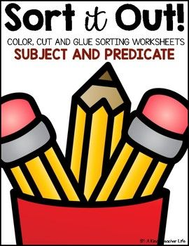 subject and predicate sort This activity is a sorting activity. Students look at the picture or photograph and put the picture or photograph on the correct side of the mat. Worksheet also includes a challenge: write a sentence; circle the subject and underline the predicate