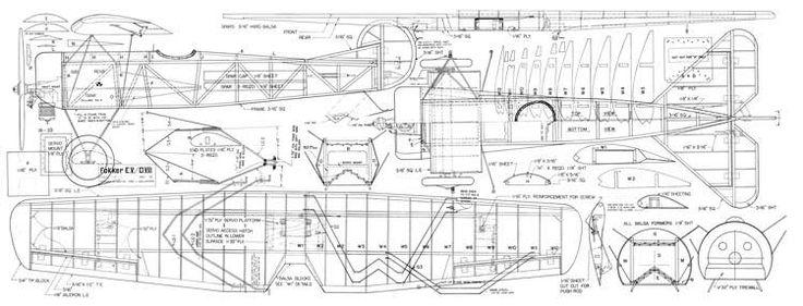 Fokker DVIII-RC Sportsman 04-77 model airplane plan