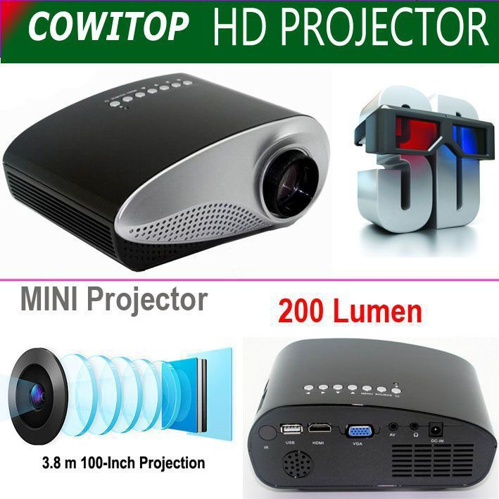 In China 2015 New cowitop Projector Mini,LCD proyectores led portable proyector support AV A/V USB & SD HDMI Projector Wholesale