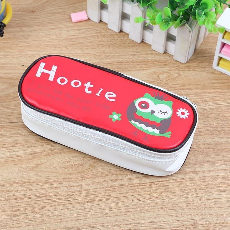 Hootie Owl Leather Pencil Case (Red) #Leather #Pencil-Case #Red