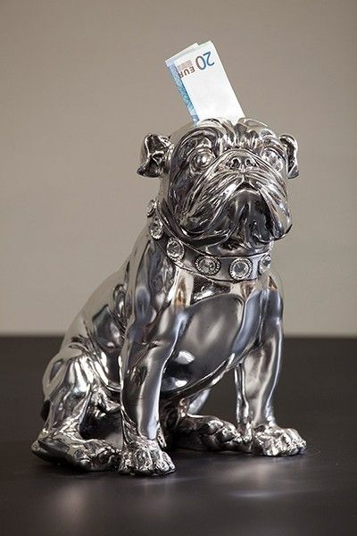 Cofre Bulldog sentado prateado, Material: fibra de vidro,  Cor: Prata
