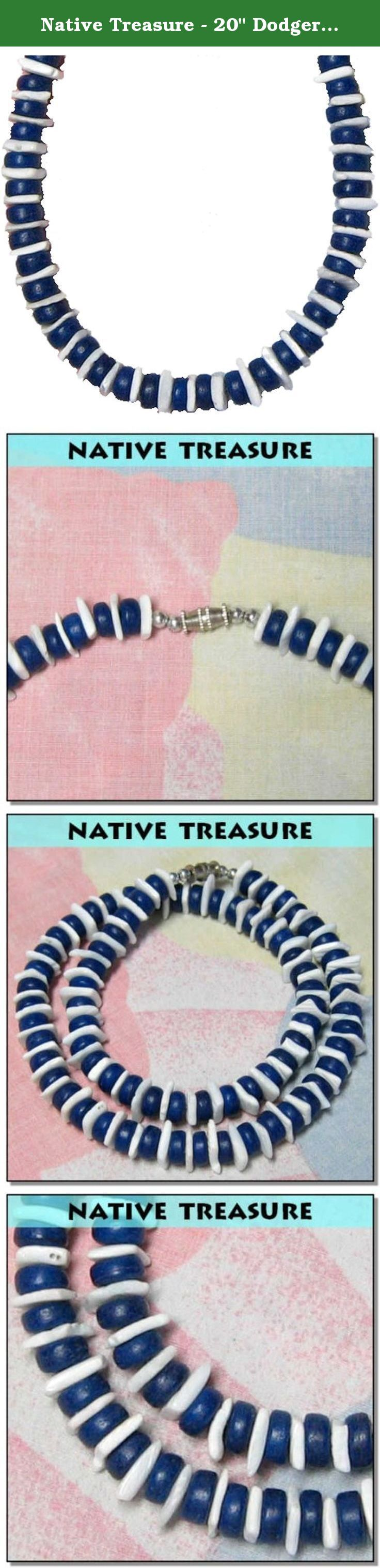 "Native Treasure - 20"" Dodger Blue Coco White Chips Puka Shell Necklace. This Highly Praised Native Treasure Authentic Tropical Jewelry Puka Shell Necklace is Beautifully Hand-crafted in our Tropical Jewelry Shop by our own Native Island Artisans using 8mm (5/16"") Hand-Sorted Super Class 'A' Quality Coco Beads and White Rose Chip Puka Clam Shells. .....It is our Longer 20"" length and it is ideal for Men, Women, Boys and Girls, Teens and Kids......Real Wood Coco Beads from Coconut Trees and..."