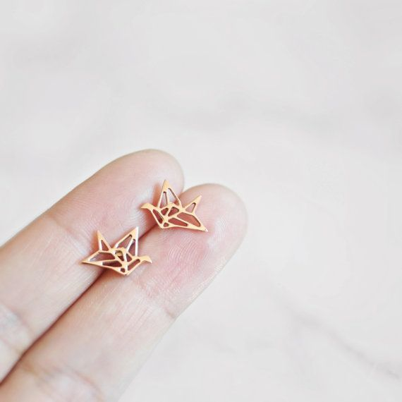 Origami kraan Stud Earrings Stud Earrings, Origami kraan Earring, Rose goud, zilver, Origami sieraden, Bird Earring, Gift van de verjaardag voor mamma, haar, Oorbellen