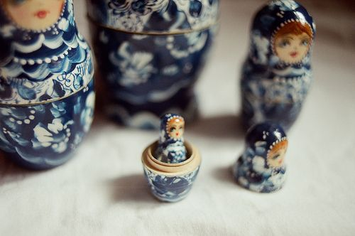 I love Russian nesting dolls. I have a bunch of different sets in my bedroom!