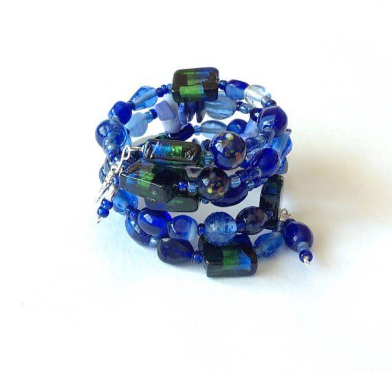 Beaded wrap bracelet blue wrap bracelet beaded cuff