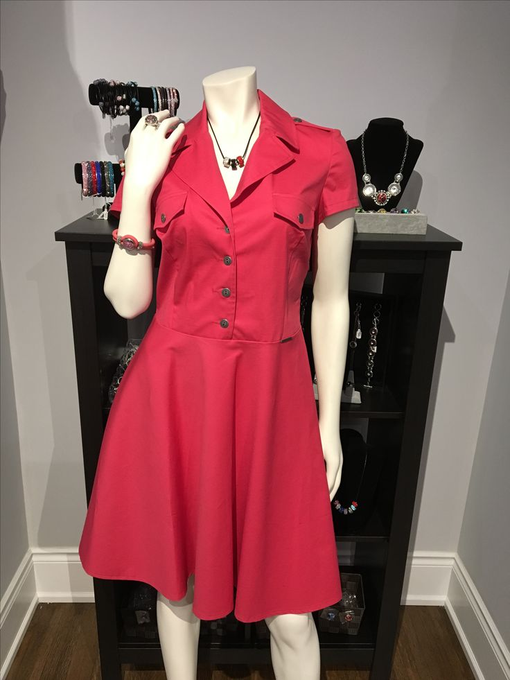 Coral Red Fit & Flare Dress SL4316