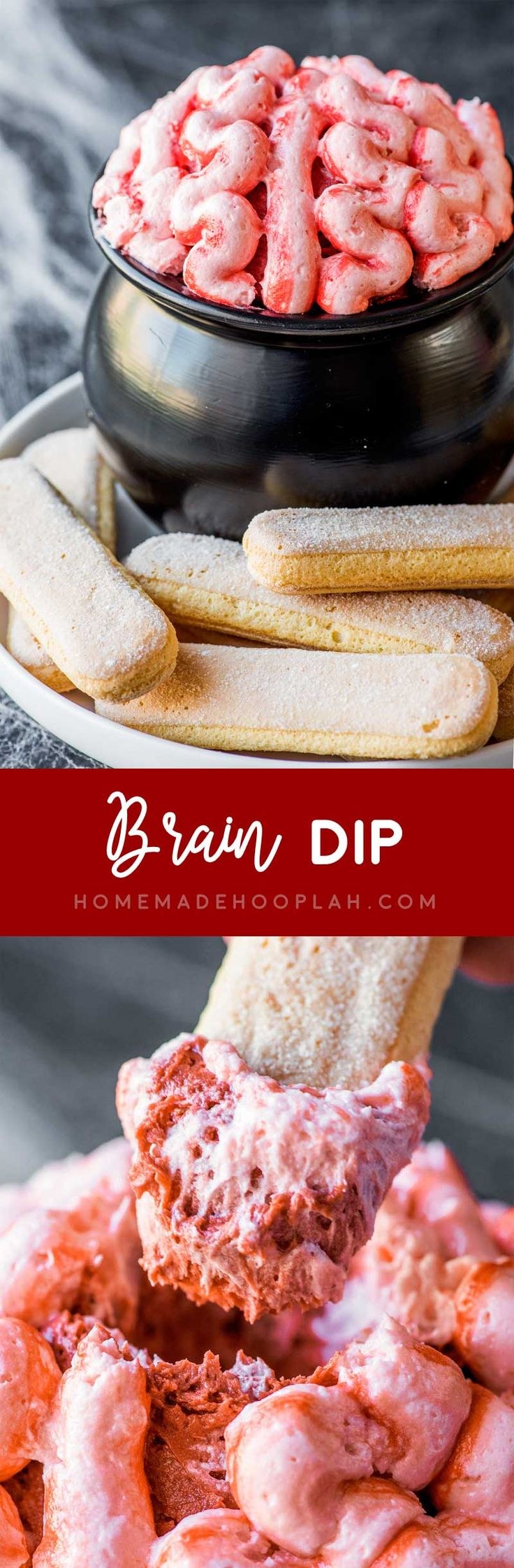 Brain Dip! This creepy Halloween dip is as tasty as it is fun! Red velvet cake batter dip is covered in cream cheese frosting and served with ladyfingers for dipping. | HomemadeHooplah.com