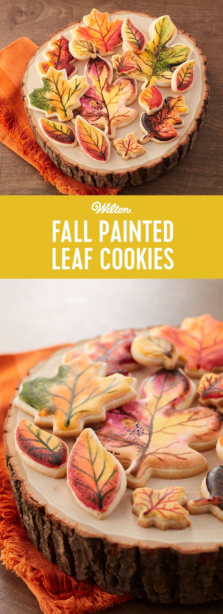 "The time is right to bake and create the prettiest ""painted"" leaf cookies that match the falling leaves of the season. Use the fun variety of cookie cutter shapes in the sets and your favorite fall colors to paint directly on the iced cookies. Serve them on rustic plates to show off their seasonal flair."