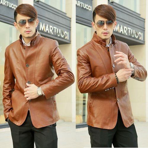 Buy Designer Russet Leather Fitted New Dress Suit Jacket for Men Less  SKU-116128