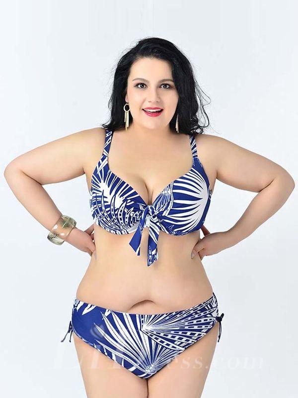 Dark Blue Leaf Printed Sexy Halter One-Piece Plus Size Bikini Lidyy1605241086