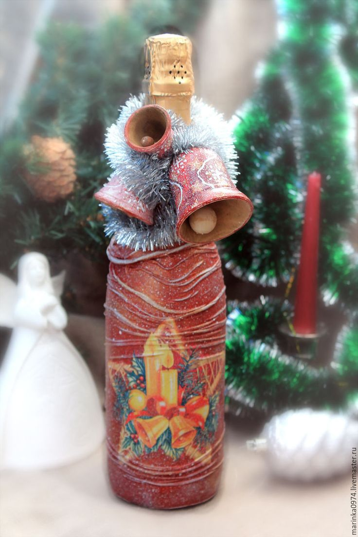 Купить Новогодний или любой праздничный декор бутылки шампанского, вина. - комбинированный, шампанское