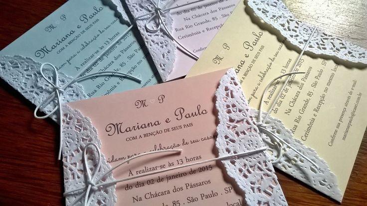 Convite de Casamento inspirado na tendência Candy Colors! Em lindas 4 opções de cores: Rosa, Amarelo, Pêssego e Verde, todas em tom pastel. Românticos, delicados e vintage's, são tendência em paletas de cores para casamento. Encante com cor e amor todos os convidados do seu casamento.